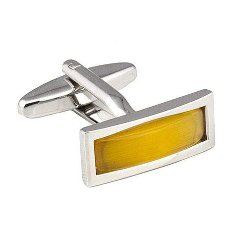 Yellow Slim Rectangular Cufflinks