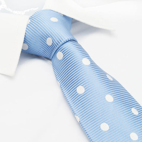 Blue Silk Tie With White Polka Dots