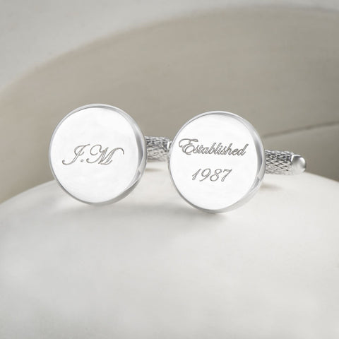 Personalised Initials & Birth Date Cufflinks
