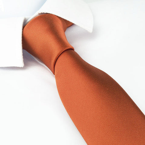 Plain Burnt Orange Slim Silk Tie