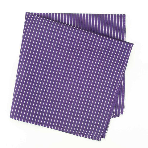 Purple with Thin Stripe Mens Silk Handkerchief