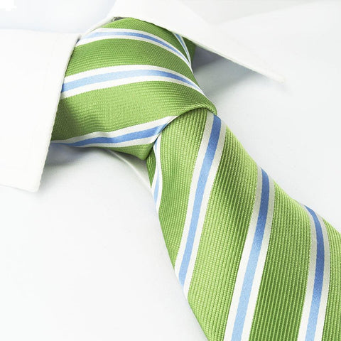 Green with White and Blue Stripes Silk Tie