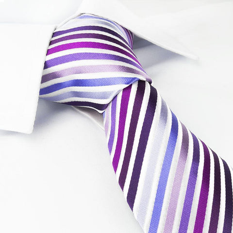 Various Purple Striped Woven Silk Tie