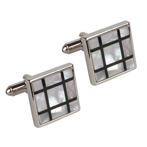 Mother of Pearl Grid Cufflinks