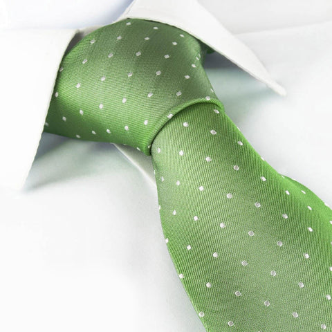 Mint Green Polka Dot Woven Silk Tie