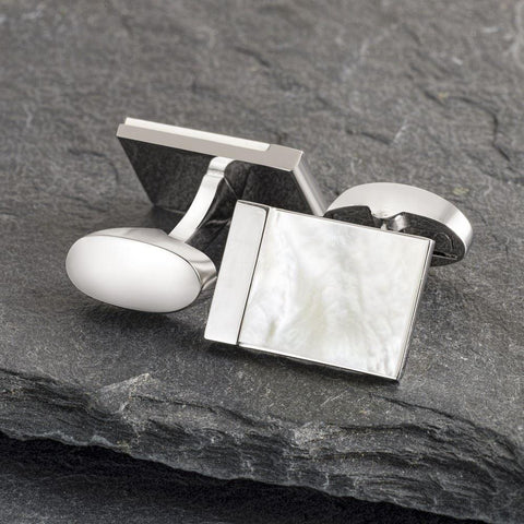 Silver Lined Mother of Pearl Cufflinks