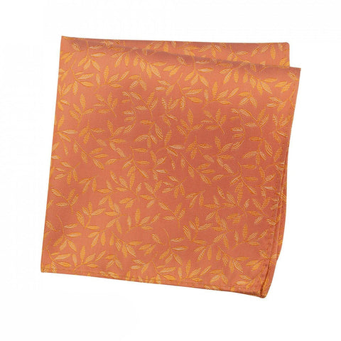 Orange Jacquard Leaf Silk Handkerchief