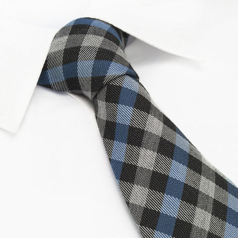 Blue & Black Tartan Wool Mix Tie
