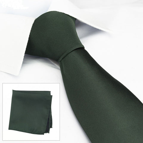 Plain Dark Green Silk Tie & Handkerchief Set