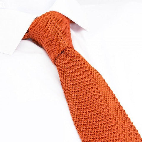 Burnt Orange Knitted Square Cut Silk Tie