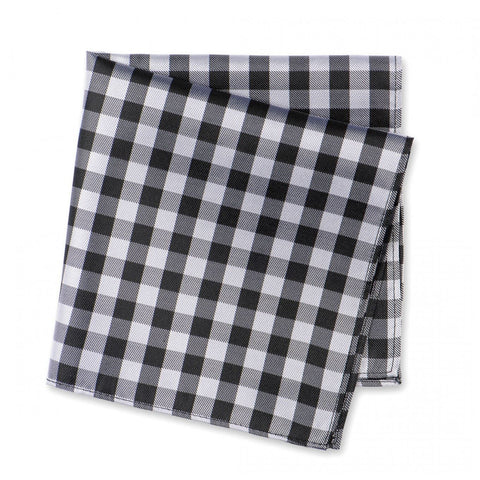 Black & White Multi Check Silk Handkerchief