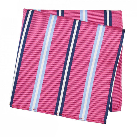 Fuchsia Woven Silk Handkerchief With Blue & Navy Stripes