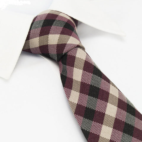 Wine & Black Tartan Wool Mix Tie