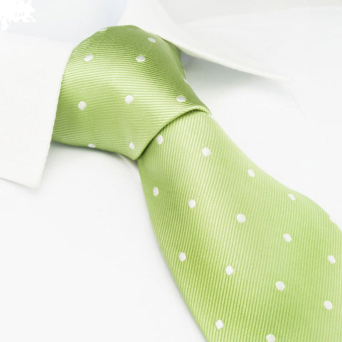 Pale Green Polka Dot Woven Silk Tie
