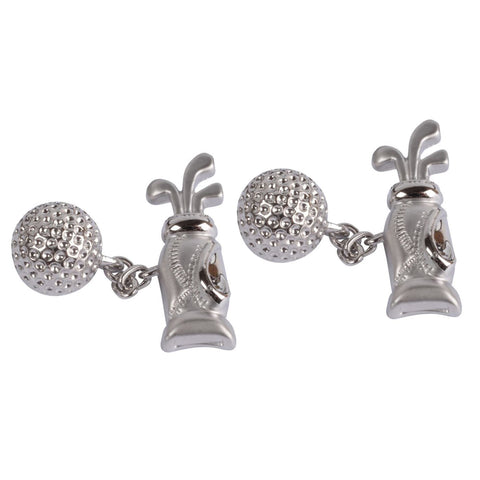 Golf Bag and Ball on Chain Cufflinks