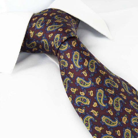 Deep Red Paisley Printed Silk Tie