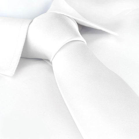 Plain White Silk Tie