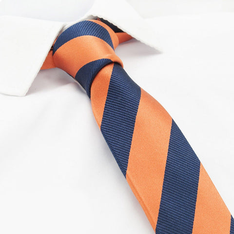 Orange & Navy Woven Striped Slim Silk Tie