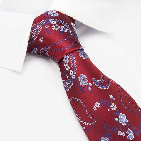 Red & Blue Luxury Floral Silk Tie