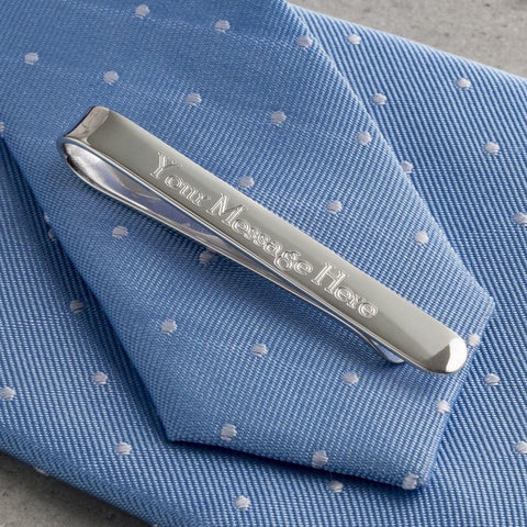 Sterling Silver Plated Engraved Tie Bar