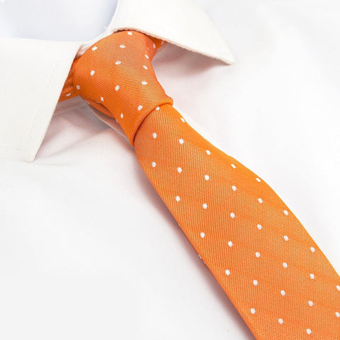 Orange Polka Dot Slim Silk Tie