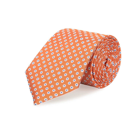 Orange & Blue Classic Oxford Spot Silk Tie
