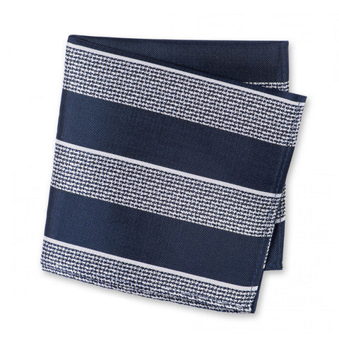 Navy & White Textured Classic Striped Silk Handkerchief