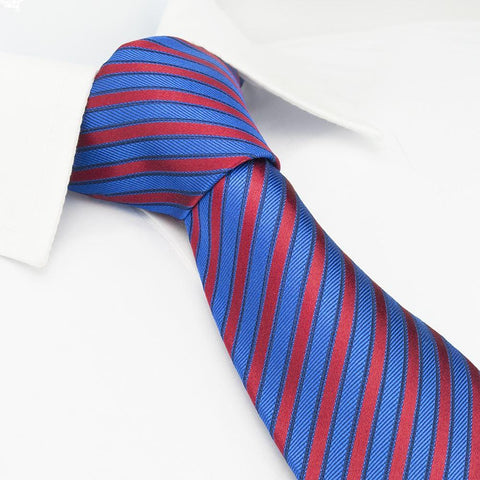Blue & Red Striped Woven Silk Tie