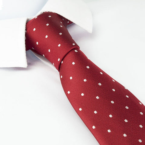 Red Polka Dot Silk Slim Tie
