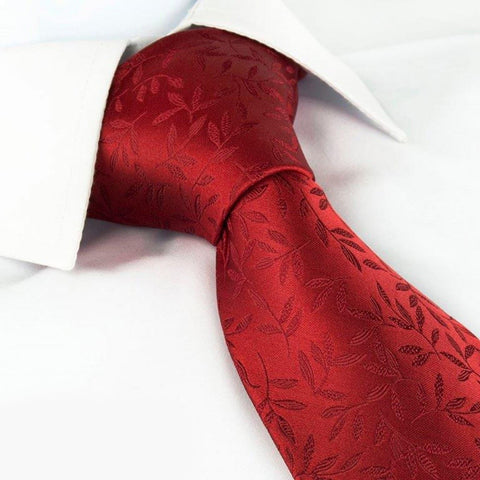 Red Jacquard Leaf Silk Tie