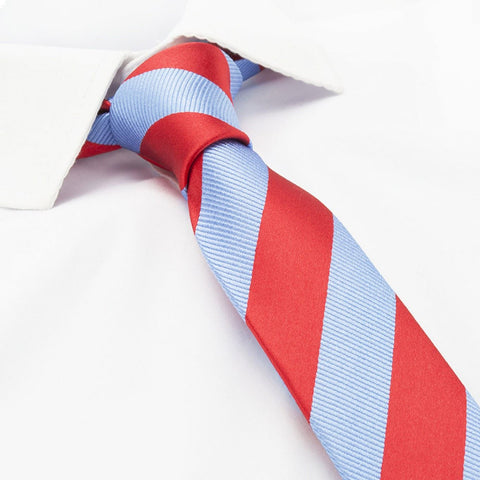 Red & Blue Woven Striped Slim Silk Tie