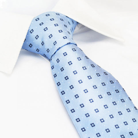 Blue & Navy Flower Spot Silk Tie