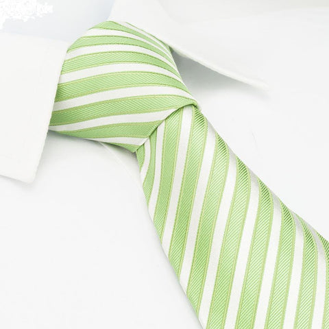 Green & White Striped Woven Silk Tie