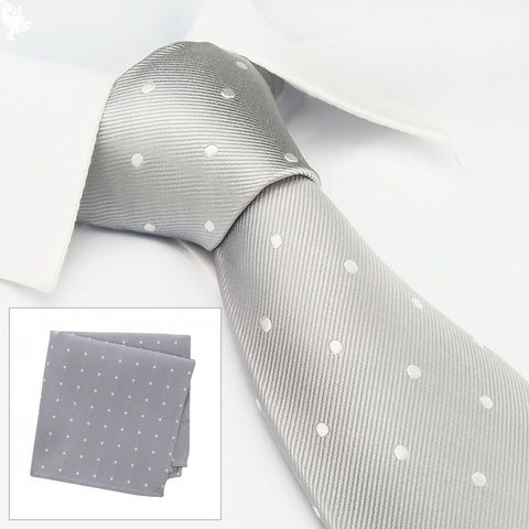 Silver Polka Dot Woven Silk Tie & Handkerchief Set