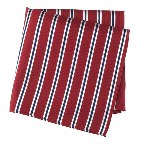Red with White & Navy Stripes Silk Handkerchief