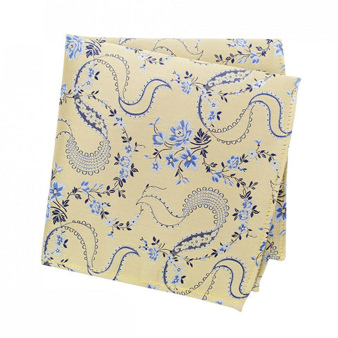 Gold & Blue Luxury Floral Silk Handkerchief