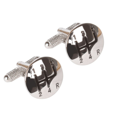 Silver Gear Stick Cufflinks