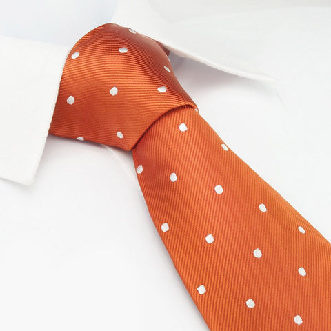 Burnt Orange Polka Dot Woven Silk Tie
