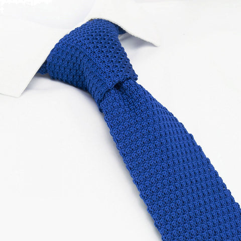 Royal Blue Knitted Square Cut Tie