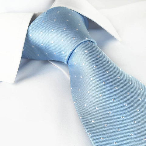 Pale Blue Polka Dot Silk Tie