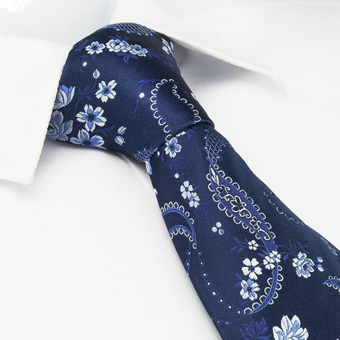 Navy & Light Blue Luxury Floral Silk Tie