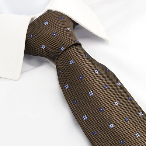 Brown & Blue Flower Spot Silk Tie