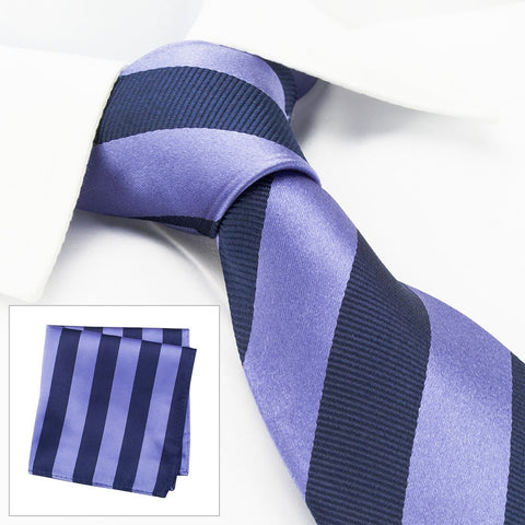 Lilac & Navy Woven Striped Silk Tie & Handkerchief Set