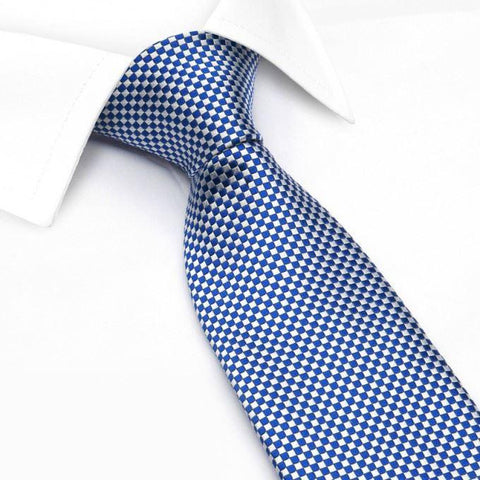Blue & White Micro Square Woven Silk Tie