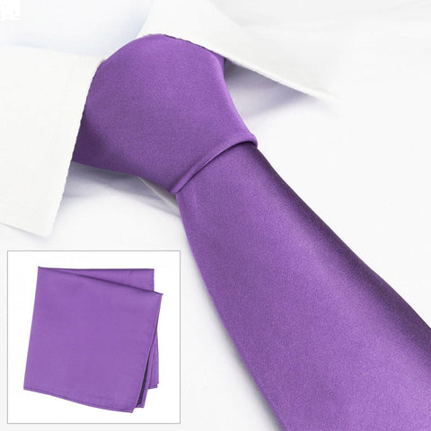 Plain Purple Silk Tie & Handkerchief Set