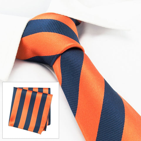 Orange & Navy Woven Striped Silk Tie & Handkerchief Set