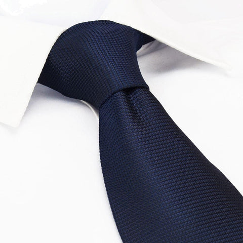 Navy Silk Plain Classic Textured Tie
