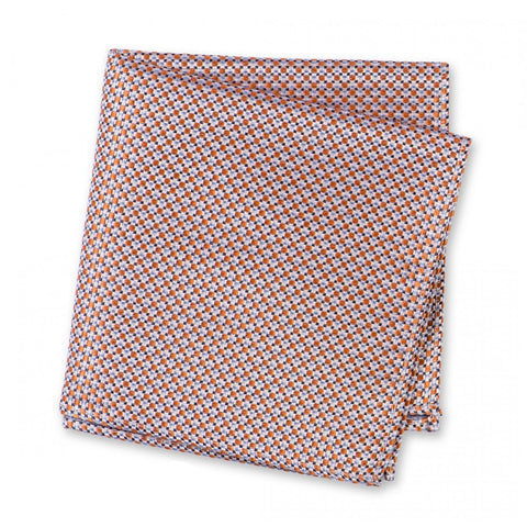 Orange Geometric Spot Woven Silk Handkerchief