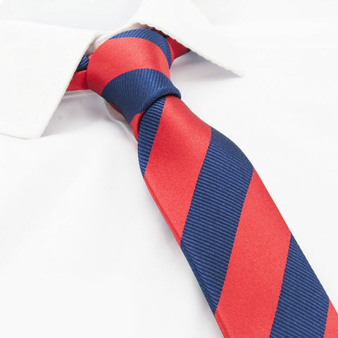 Red & Navy Woven Striped Slim Silk Tie