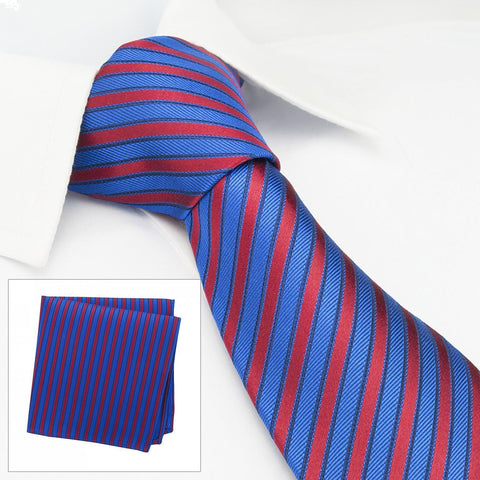Blue & Red Striped Woven Silk Tie & Handkerchief Set